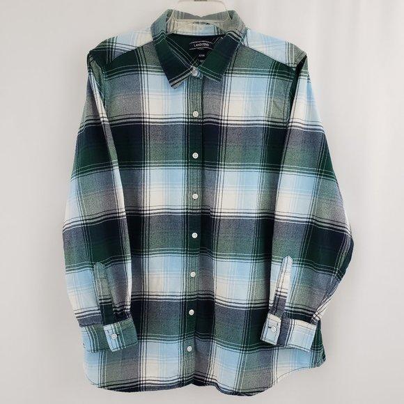 Lands End Womens Flannel Shirt Plus Size 22W